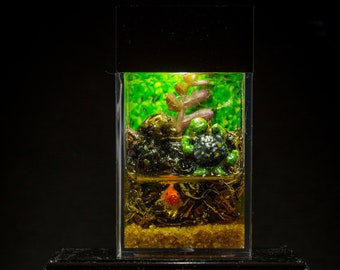 Dollhouse Miniature Reptile Terrarium Turtle Tank Aquarium with Electric Mini Plug In Lighted Hood Hand Made OOAK NO STAND