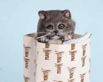 Dollhouse Miniature Grey Cat in Shopping Bag Artist Furred OOAK 1:12 Scale Kitty
