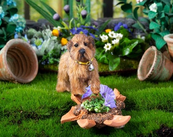 Dollhouse Miniature Standing Mini Norfolk Terrier Artist Sculpted Furred OOAK Dog 1:12 Scale