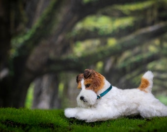 Dollhouse Miniature Laying Fox Terrier Terrier Artist Sculpted Furred OOAK Dog 1:12 Scale