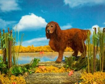 Dollhouse Miniature Dog Standing Irish Setter Artist Sculpted Furred OOAK Dog 1:12 Scale