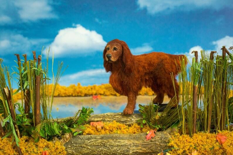 Dollhouse Miniature Dog Standing Irish Setter Artist Sculpted image 0