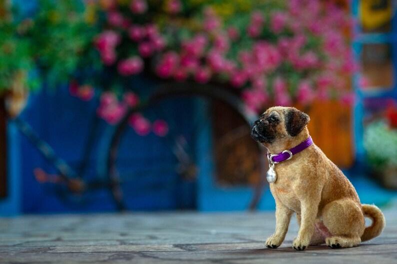 Dollhouse Miniature Puggle Dog Flocked Painted Artisan 1:12 image 0