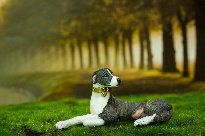 Dollhouse Greyhound Dog Laying Down Hand Sculpted Artist image 0
