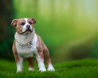 Dollhouse Miniature Pitbull Terrier Pup Artist Flocked OOAK Dog 1:12 Scale