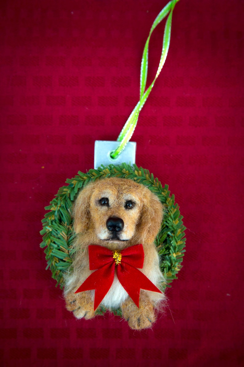 Custom Needle Felt Golden Retriever Christmas Ornament Hand image 0