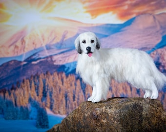Dollhouse Miniature Standing Great Pyrenees Artist Sculpted Furred OOAK Dog 1:12 Scale