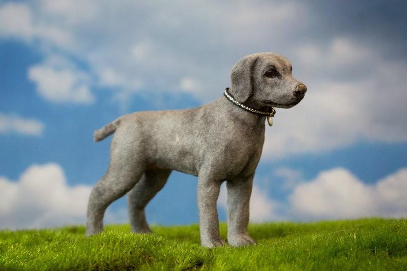 Dollhouse Miniature Standing Weimaraner Hunting Dog Artist image 0