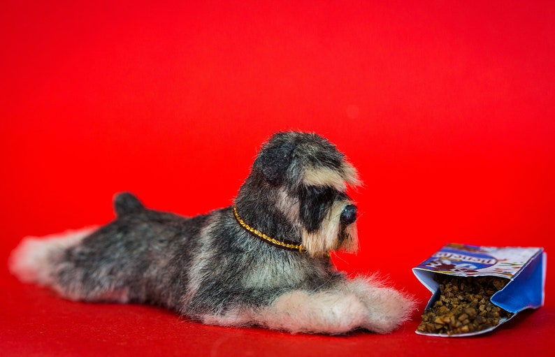 Dollhouse Miniature Laying Down Relaxed Standard Schnauzer image 0