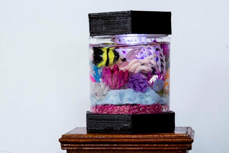 Dollhouse Miniature Hexagonal Fish Coral Tank Aquarium with image 0