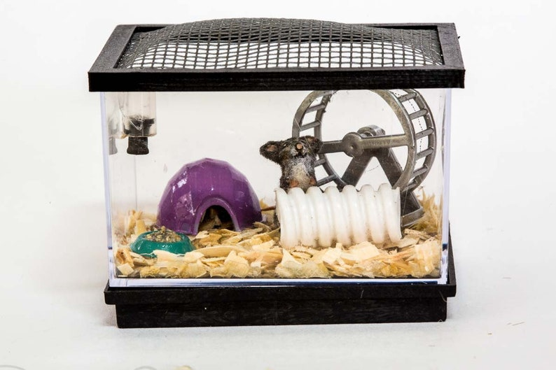 Dollhouse Miniature Flocked Realistic Rat Rodent Cage and image 0