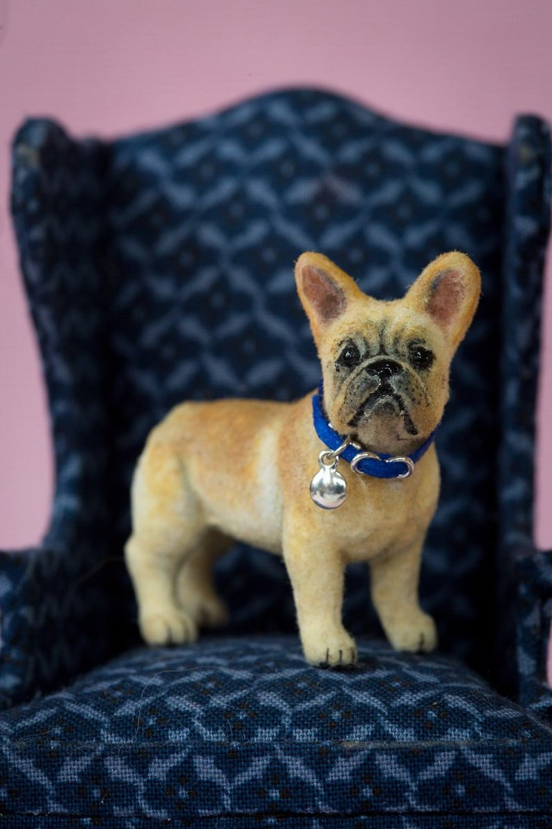 Dollhouse Miniature French Bulldog Pup Artist Flocked OOAK Dog image 0