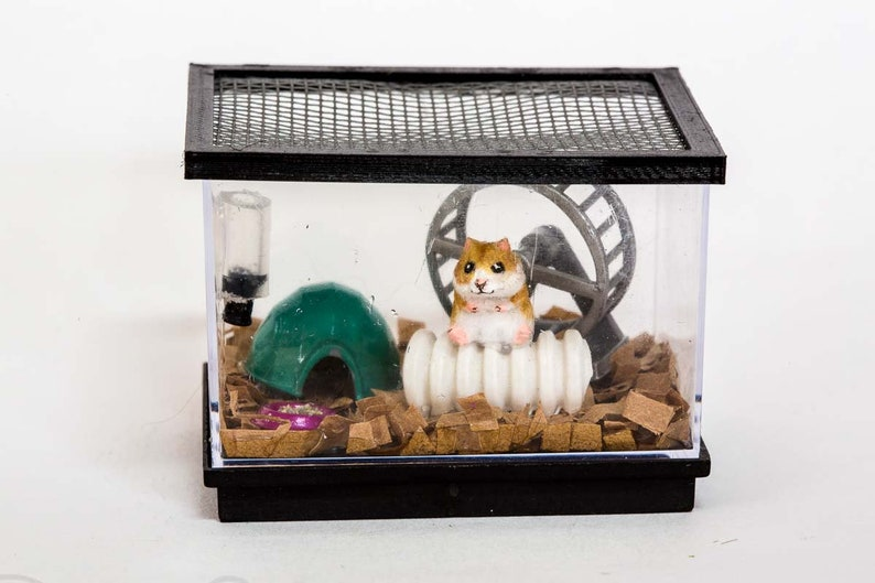Dollhouse Miniature Flocked Realistic Hamster Rodent Cage and image 0