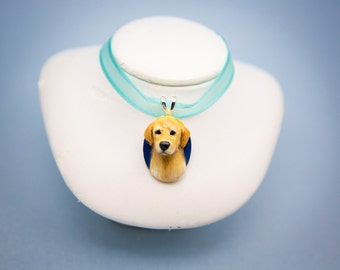 "Handmade Golden Retriever Dog Pendant Necklace Charm 1"" Jewelry"