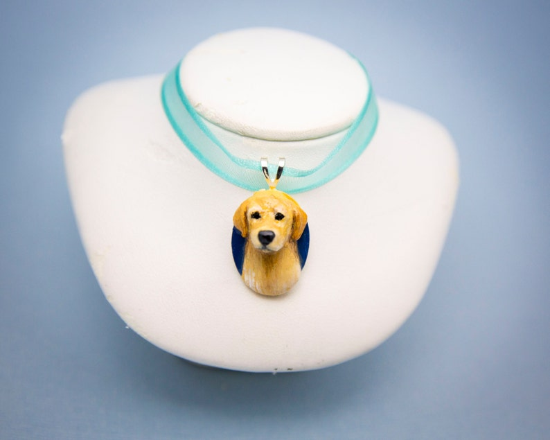 Handmade Golden Retriever Dog Pendant Necklace Charm 1 image 0