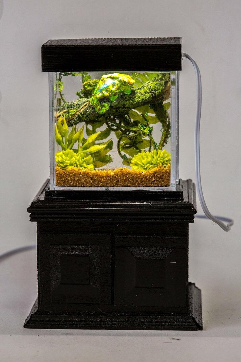 Dollhouse Miniature Reptile Terrarium Chameleon lizard Tank image 0