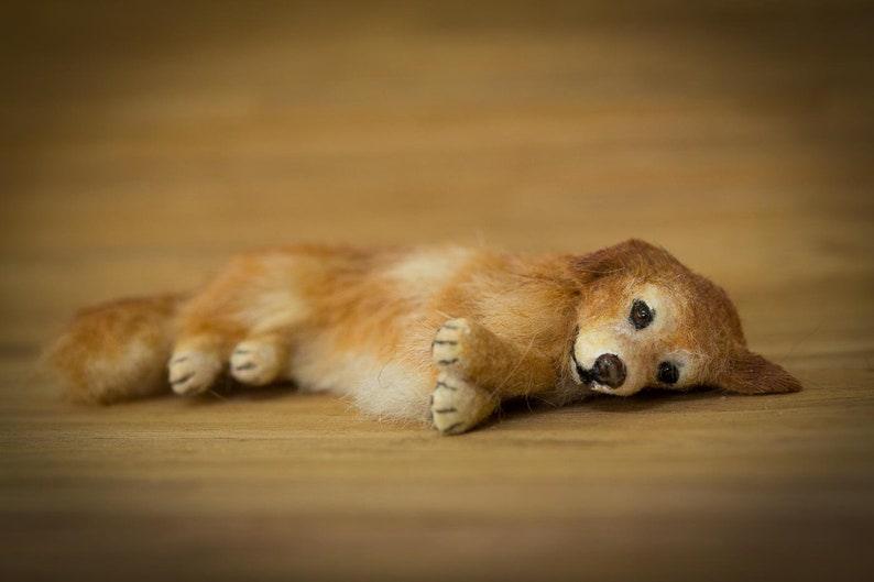 Dollhouse Miniature Golden Retriever Laying Down Artist image 0