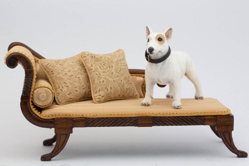 Dollhouse Miniature Bull Terrier Dog Flocked Painted Artisan image 0