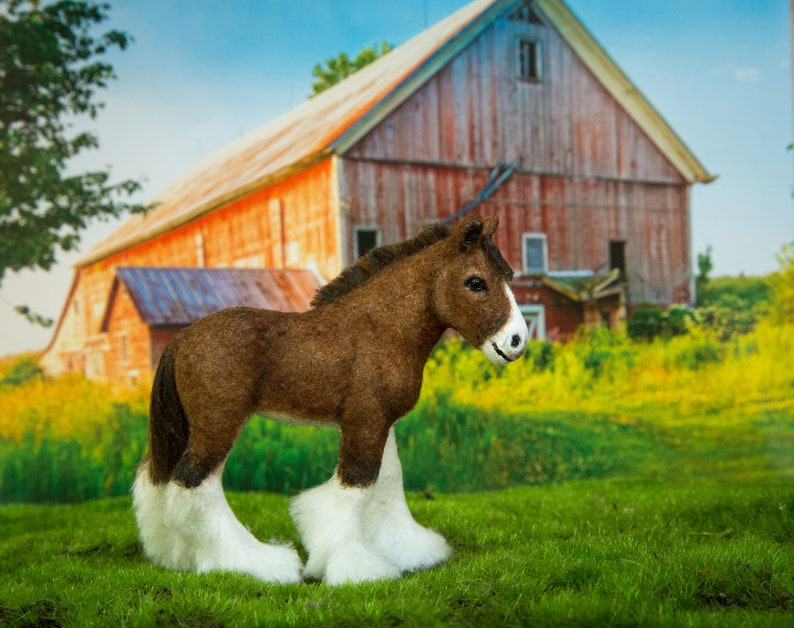 Dollhouse Miniature Brown and White Clydesdale Baby Foal Horse image 0