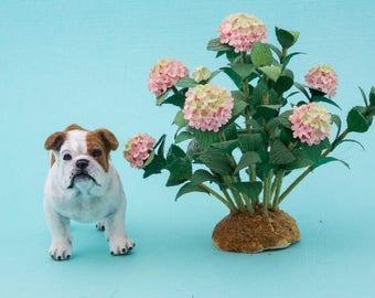 Dollhouse Miniature Bulldog Flocked Painted Artisan 1:12 Scale