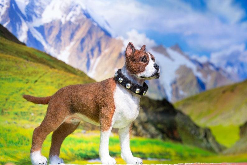 Dollhouse Miniature Pitbull Terrier Pup Artist Flocked OOAK image 0