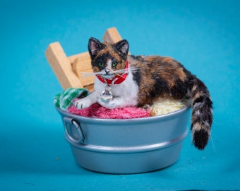 Dollhouse Miniature Laying Calico Cat Artist Furred OOAK 1:12 Scale Kitty