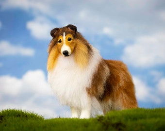 Dollhouse Miniature Standing Sable Rough Collie Artist Sculpted Furred OOAK Dog 1:12 Scale
