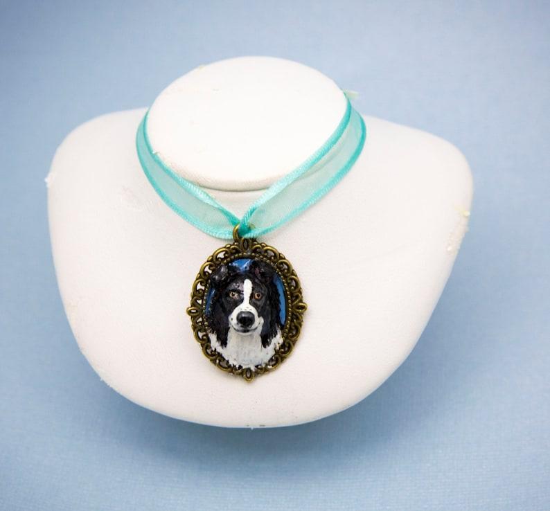 Handmade Border Collie Dog Pendant Necklace Charm 1.25 image 0