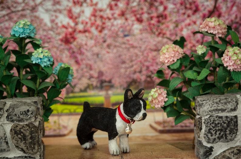 Dollhouse Miniature Boston Terrier Standing Artist Flocked image 0