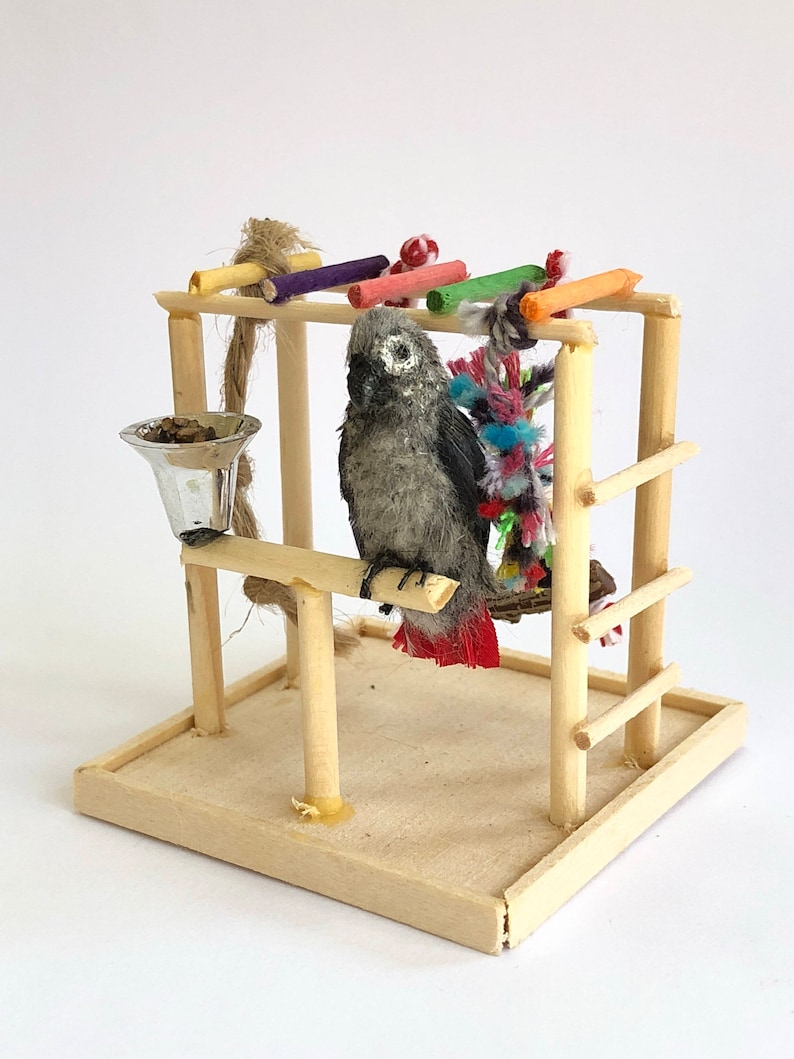 1:12 Scale Dollhouse Miniature African Grey Parrot and Play image 0