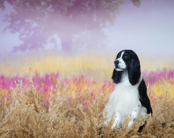 Dollhouse Miniature Dog Black and White Sitting English Springer Spaniel Artist Sculpted Furred OOAK Dog 1:12 Scale