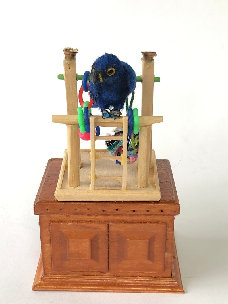 1:12 Scale Dollhouse Miniature Blue Hyacinth Macaw Parrot image 0
