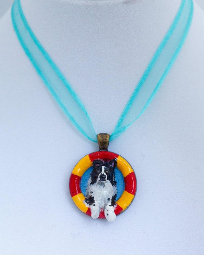Handmade Photo Jewelry Art Dog Ltd Set of Bracelet and Necklace Collie