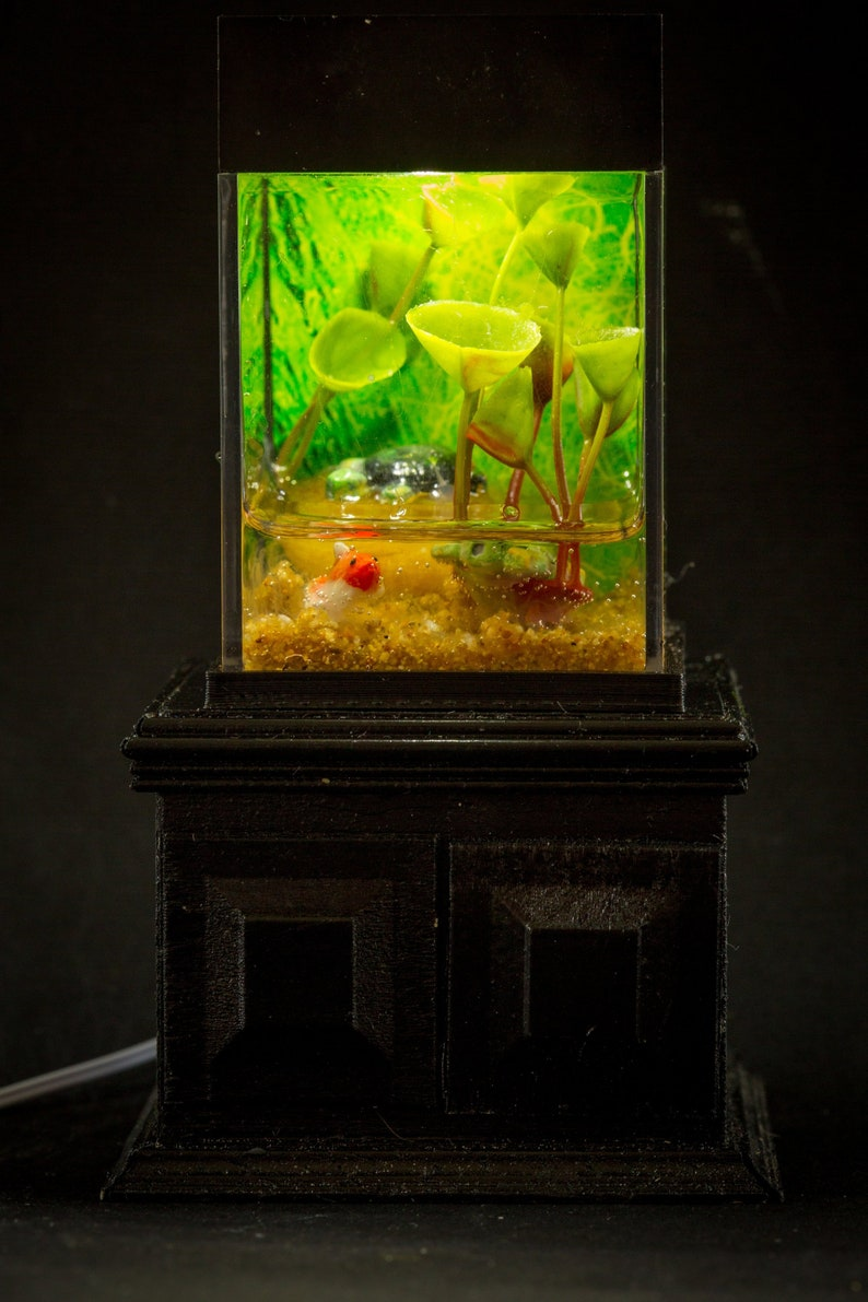 Dollhouse Miniature Reptile Terrarium Turtle Frog Fish Tank image 0