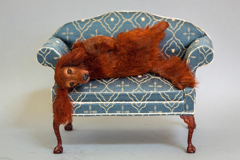 Dollhouse Miniature Dog Rolling Irish Setter Artist Sculpted image 0