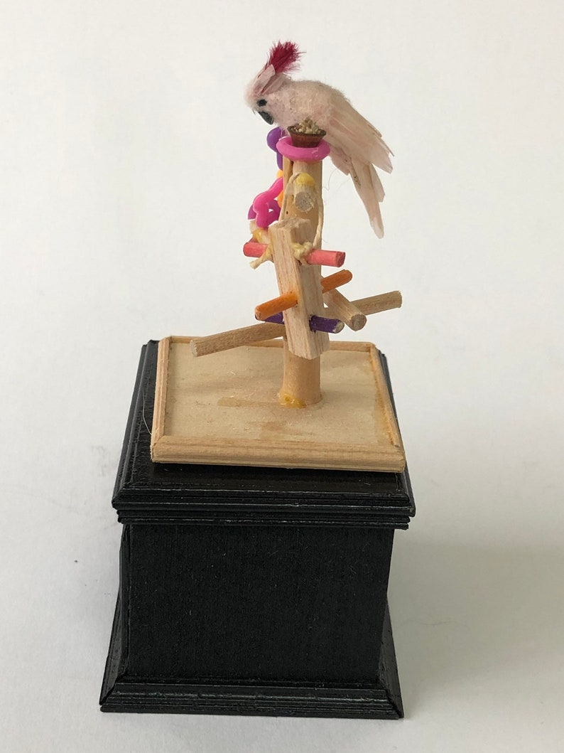 1:12 Scale Dollhouse Miniature Cockatoo and Play Stand Artist image 0