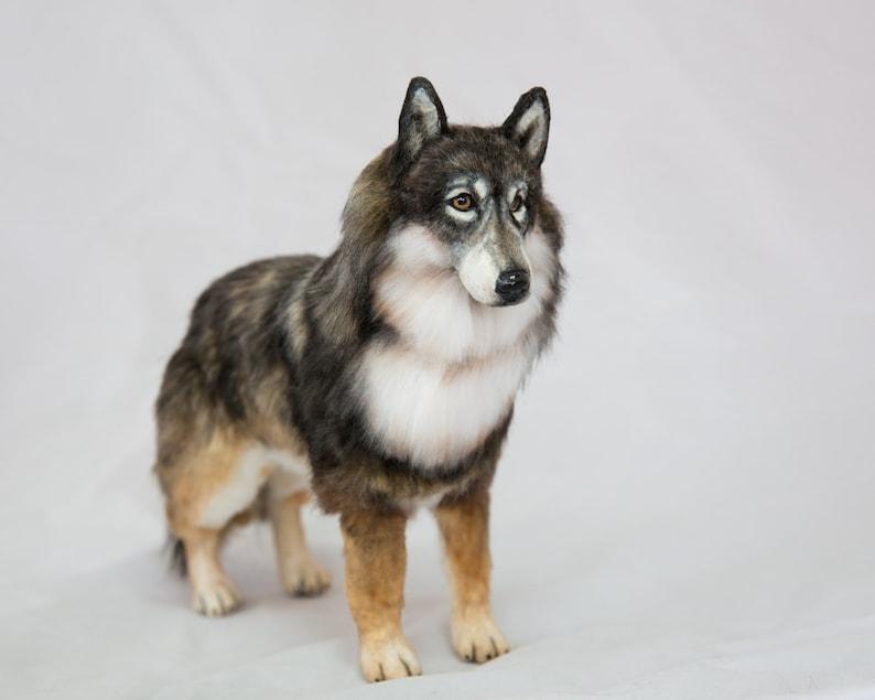 8 Tall Grey Wolf Artist Made Faux Fur Sculpture OOAK Art image 0