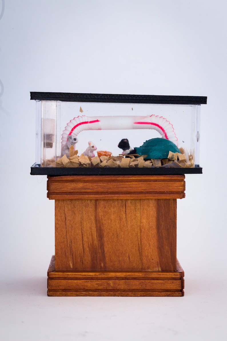Dollhouse Miniature Flocked Realistic Mouse Mice Rodent Cage image 0