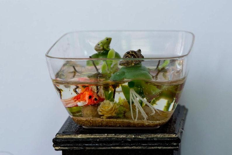 Dollhouse Miniature Reptile Terrarium Turtle Tank Aquarium image 0