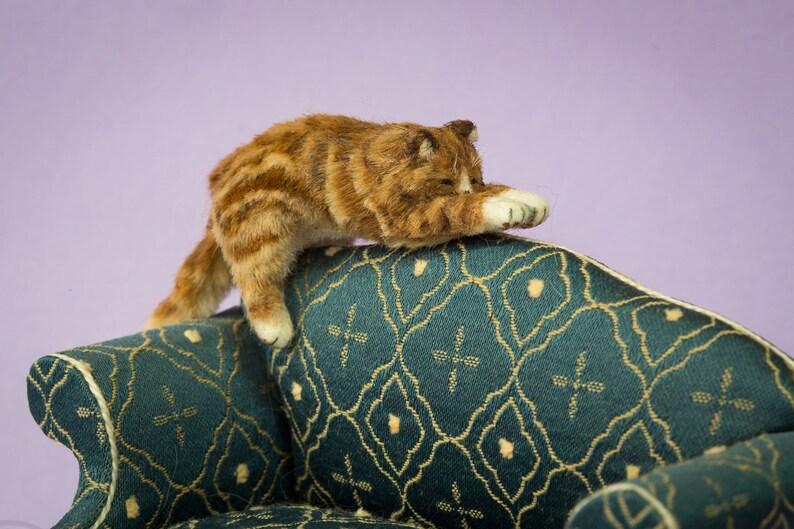 Dollhouse Miniature Sleeping Orange Tabby Cat for Chair Furred image 0