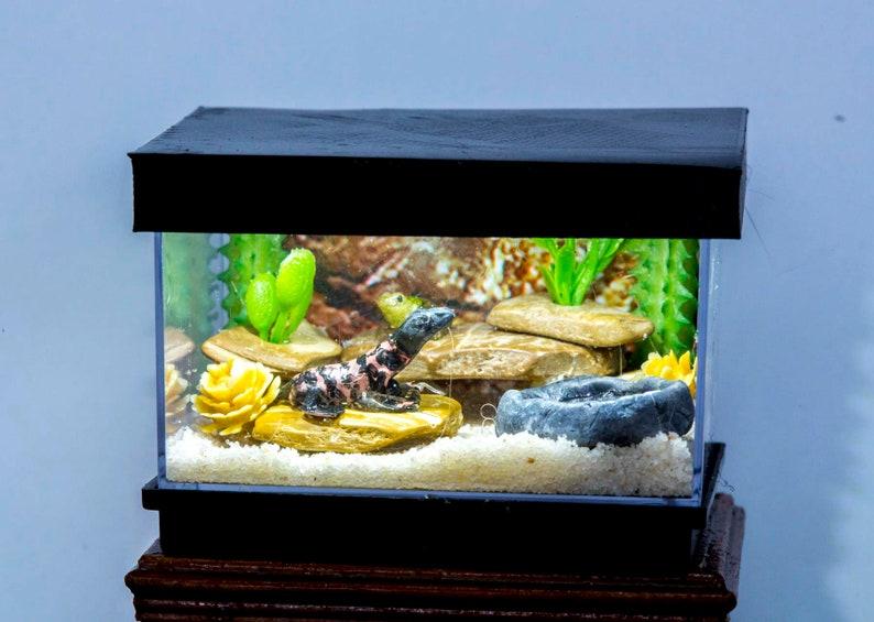Dollhouse Miniature Reptile Terrarium Gila Monster Lizard Tank image 0
