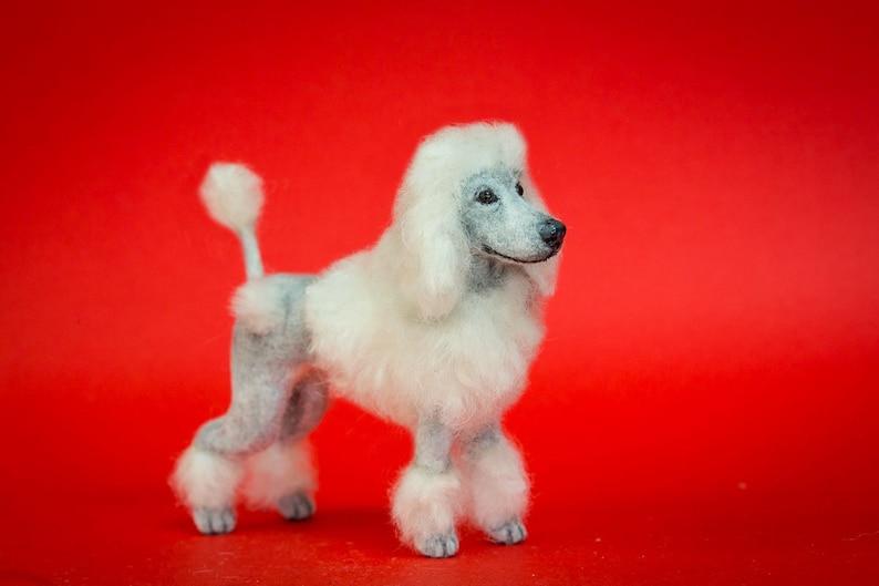 Dollhouse Miniature Dog White Standing Standard Poodle Artist image 0