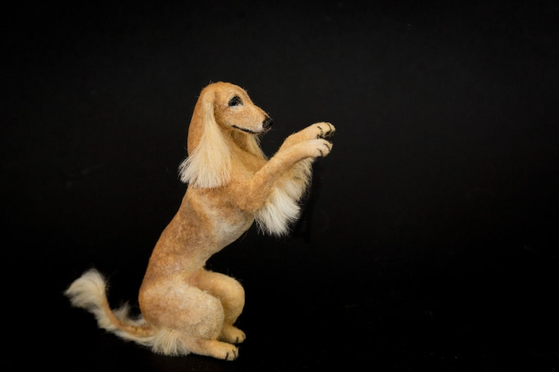 Dollhouse Miniature Tan Begging Saluki Hound Artist Sculpted image 0