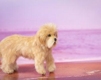 Dollhouse Miniature Standing Doodle Dog Golden Doodle Goldendoodle Artist Sculpted Furred OOAK Dog 1:12 Scale