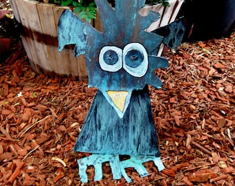 Hypno Bird Metal Welded Yard and Garden Art