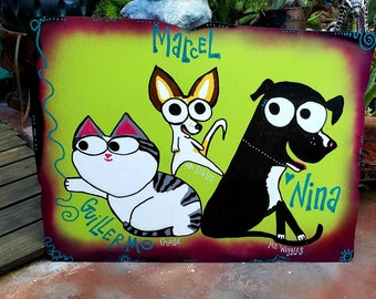 Custom Pet Sign, Dog Breed, Cat, Your Pets on Metal Outdoor Sign, Personalized Yard Art