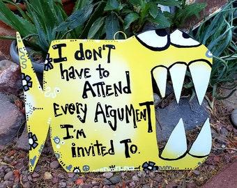 Mr. Argument Fish, Metal Fish Art, Inspirational Sign, Classroom Sign