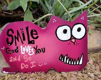 Smile God Loves You Gift Sign, Metal Yard Sign, Cat Sign, Love Sign