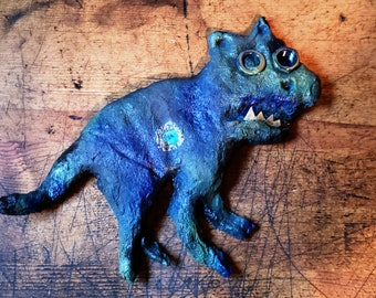 Harvey the Hell Cat: Delightfully Creepy Cat Sculpture and Wall Hanging