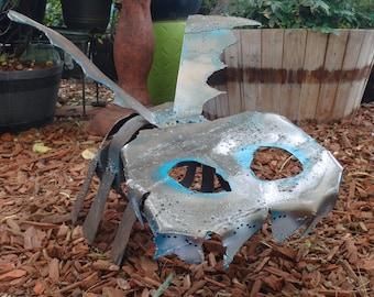 Romeo the Winged Caterpillar Skeleton Thing: Welded Metal Yard Art